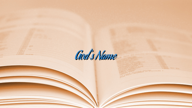 God's Name