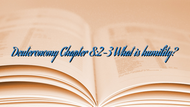 Deuteronomy Chapter 8:2-3 What is humility?
