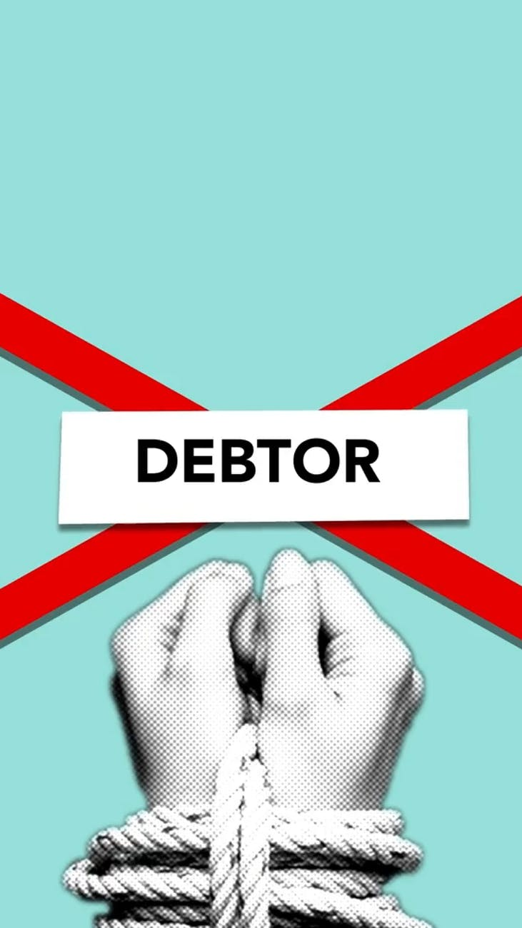 illustration of debtor with tied hands